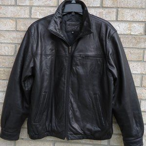 SIZE L.Brandini Black Leather Men's Bomber Jacket.